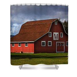Shower Curtain featuring the photograph Red Kirsop Barn by Jean OKeeffe Macro Abundance Art
