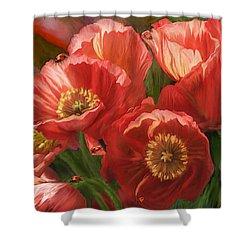 Red Ladies Of Summer Shower Curtain by Carol Cavalaris