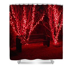Red Lights And Bench Shower Curtain by Rodney Lee Williams