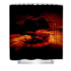 Red Lip Moon Shower Curtain by Amanda Eberly-Kudamik