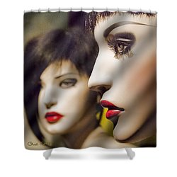 Red Lips - Black Heart Shower Curtain