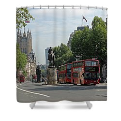Red London Bus In Whitehall Shower Curtain
