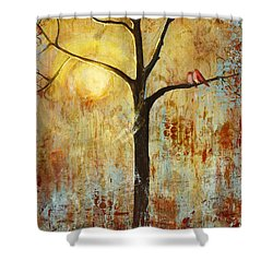 Red Love Birds In A Tree Shower Curtain