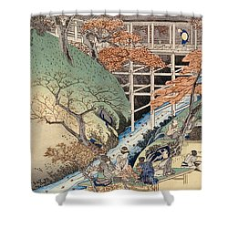 Red Maple Leaves At Tsuten Bridge Shower Curtain