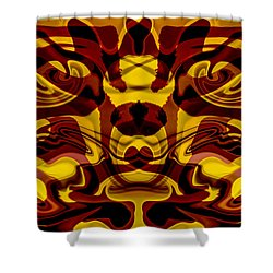 Red Mask Shower Curtain by Omaste Witkowski