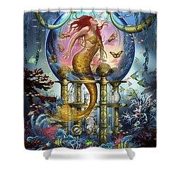 Red Mermaid Shower Curtain by Ciro Marchetti