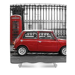 Red Mini Cooper In London Shower Curtain