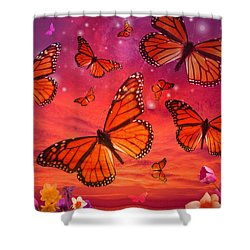 Red Monarch Sunrise Shower Curtain by Alixandra Mullins