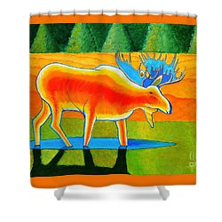 Shower Curtain featuring the painting Red Moose by Joseph J Stevens