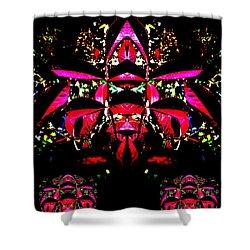 Shower Curtain featuring the digital art Red Mosaic by Aliceann Carlton