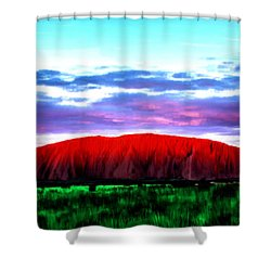 Shower Curtain featuring the painting Red Mountain Sunset by Bruce Nutting