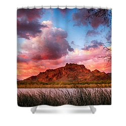 Red Mountain Sunset Shower Curtain