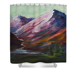 Shower Curtain featuring the painting Red Mountain Surreal Mountain Lanscape by Yulia Kazansky