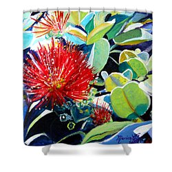 Red Ohia Lehua Flower Shower Curtain