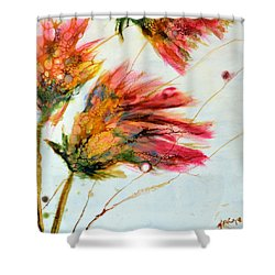 Red Orange Flowers Shower Curtain