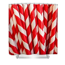 Red Paper Straws Shower Curtain by Edward Fielding