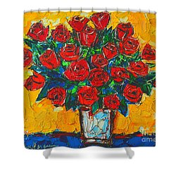 Red Passion Roses Shower Curtain by Ana Maria Edulescu