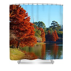 Red Pine On Lake Ella Shower Curtain