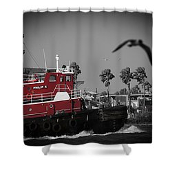 Red Pop Tugboat Shower Curtain by Bartz Johnson