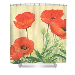 Red Poppies 3 Colorful Watercolor Poppy Floral Original Art Flowers Garden Artist K. Joann Russell Shower Curtain by Elizabeth Sawyer