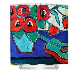 Red Poppies And Guitar  Shower Curtain by Ana Maria Edulescu
