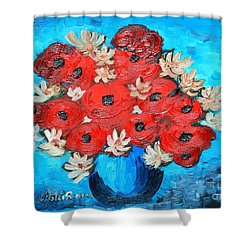 Shower Curtain featuring the painting Red Poppies And White Daisies by Ramona Matei