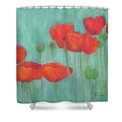 Red Poppies Colorful Poppy Flowers Original Art Floral Garden  Shower Curtain by Elizabeth Sawyer