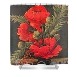 Red Poppies Shower Curtain by Glory Wood