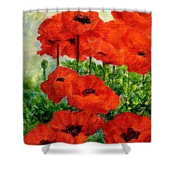 Red  Poppies In Shade Colorful Flowers Garden Art Shower Curtain by Elizabeth Sawyer