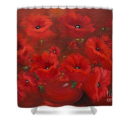 Shower Curtain featuring the painting Red Poppies by Jenny Lee