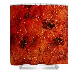 Red Poppies Shower Curtain by Robin Monroe