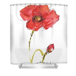 Red Poppy And Bud Shower Curtain