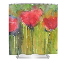 Red Poppy Elegance Shower Curtain
