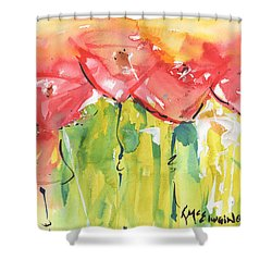 Red Poppy Party Shower Curtain