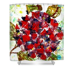 Shower Curtain featuring the painting Red Purple Flower by Joan Reese