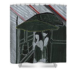 Red Rain Shower Curtain by First Star Art