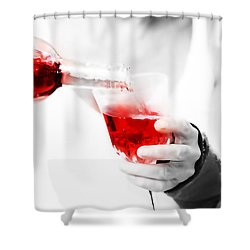 Red Red Wine Shower Curtain by Jenny Rainbow