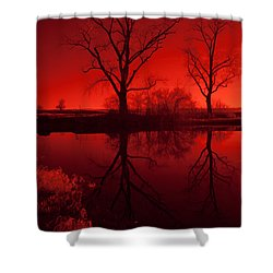 Red Reflections Shower Curtain by Miguel Winterpacht