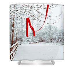 Red Ribbon In Tree Shower Curtain by Amanda Elwell