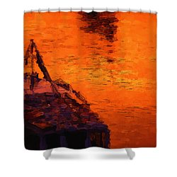 Red Rider Shower Curtain by Ayse Deniz