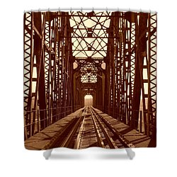 Shower Curtain featuring the photograph Red River Train Bridge #1 by Robert ONeil