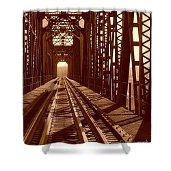 Shower Curtain featuring the photograph Red River Train Bridge #2 by Robert ONeil