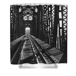 Shower Curtain featuring the photograph Red River Train Bridge #3 by Robert ONeil