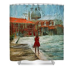 Red Robe At Redentore Shower Curtain