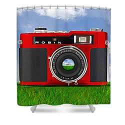Red Robin Shower Curtain by Mike McGlothlen