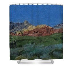 Shower Curtain featuring the painting Red Rock Canyon Panorama by Linda Feinberg