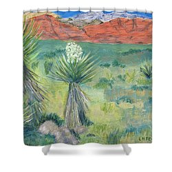 Shower Curtain featuring the painting Red Rock Canyon With Yucca by Linda Feinberg