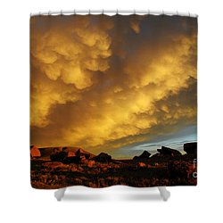 Red Rock Coulee Sunset Shower Curtain by Vivian Christopher