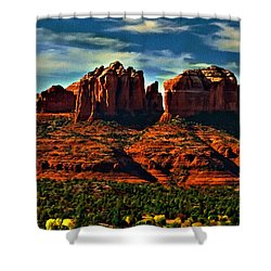 Red Rock State Park Arizona Sunrise Shower Curtain by Bob and Nadine Johnston