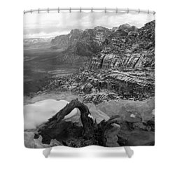 Shower Curtain featuring the photograph Red Rock Winter by Alan Socolik
